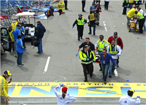Responders in action during the aftermath of the 2013 Boston Marathon