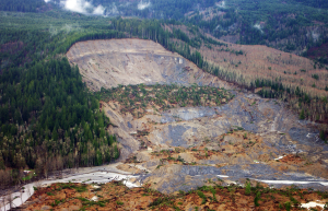 This photograph shows the upper part of the Oso Mudslide that occurred in northwest Washington on March 22, 2014. Photo courtesy of Jonathan Godt, USGS