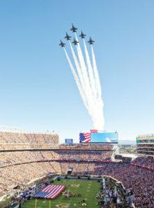U.S.Navy, Blue Angels, flyover Levi Stadium in Santa Clara, CA for Super Bowl 50.