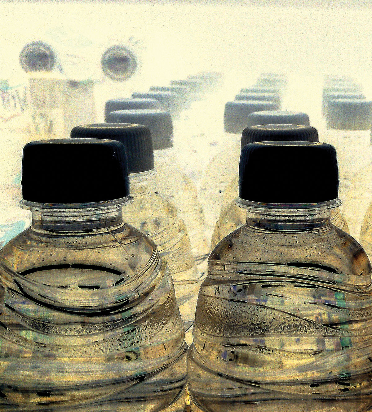 Plastic bottles containing water from Flint's drinking water