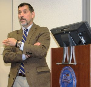 Terrorism scholar Dr. Bruce Hoffman spoke to CHDS master's degree students on December 1.