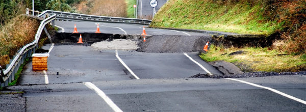 road damage from earthquake