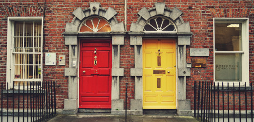 two doors, one red and one yellow