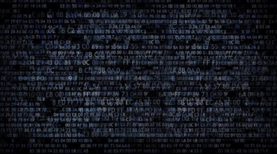 digital text scrolling across a screen